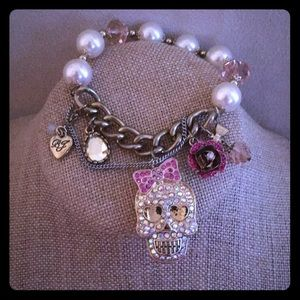Betsy Johnson sparkles skull bracelet.  Worn once!